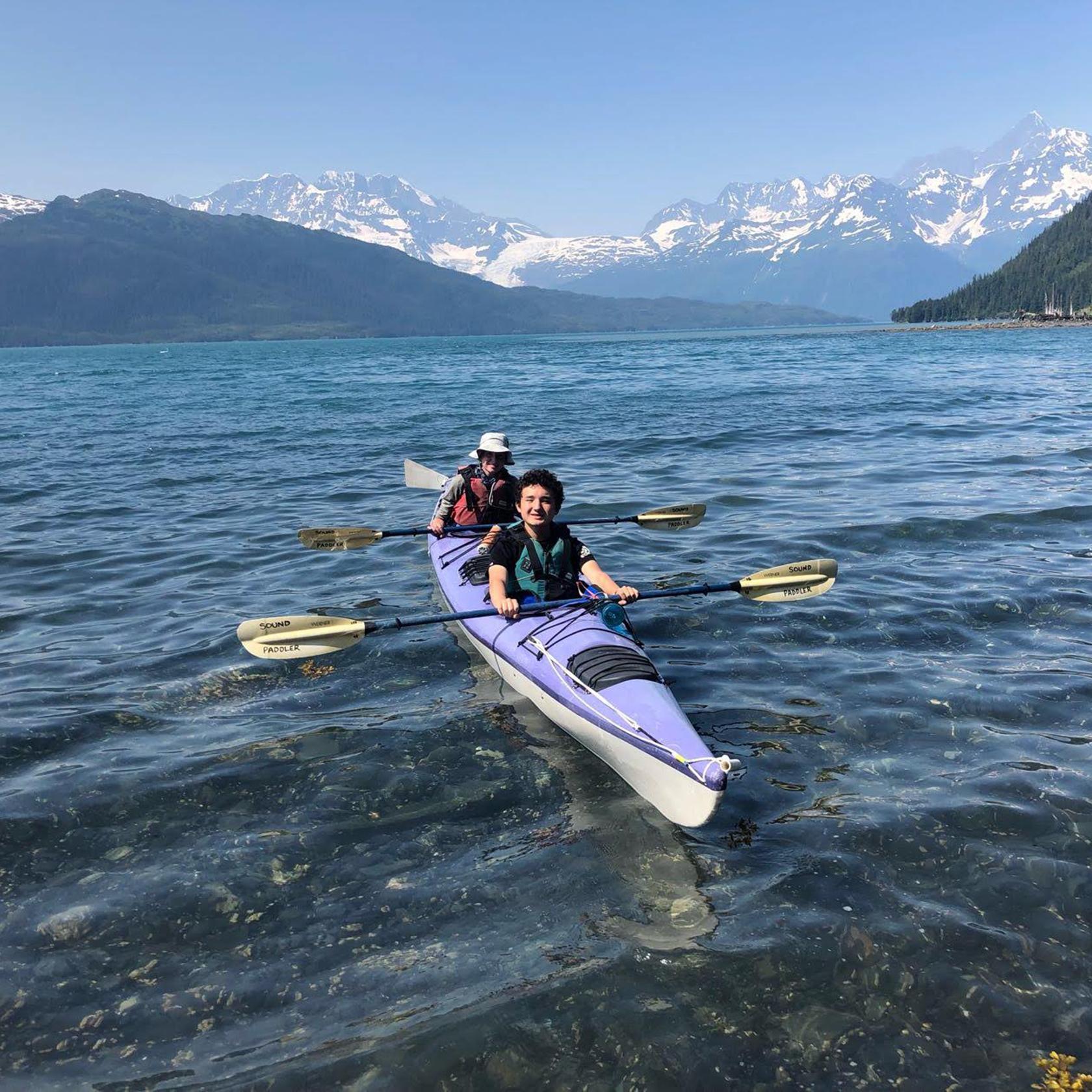 Sea kayaking on the Alaska High Trails trip
