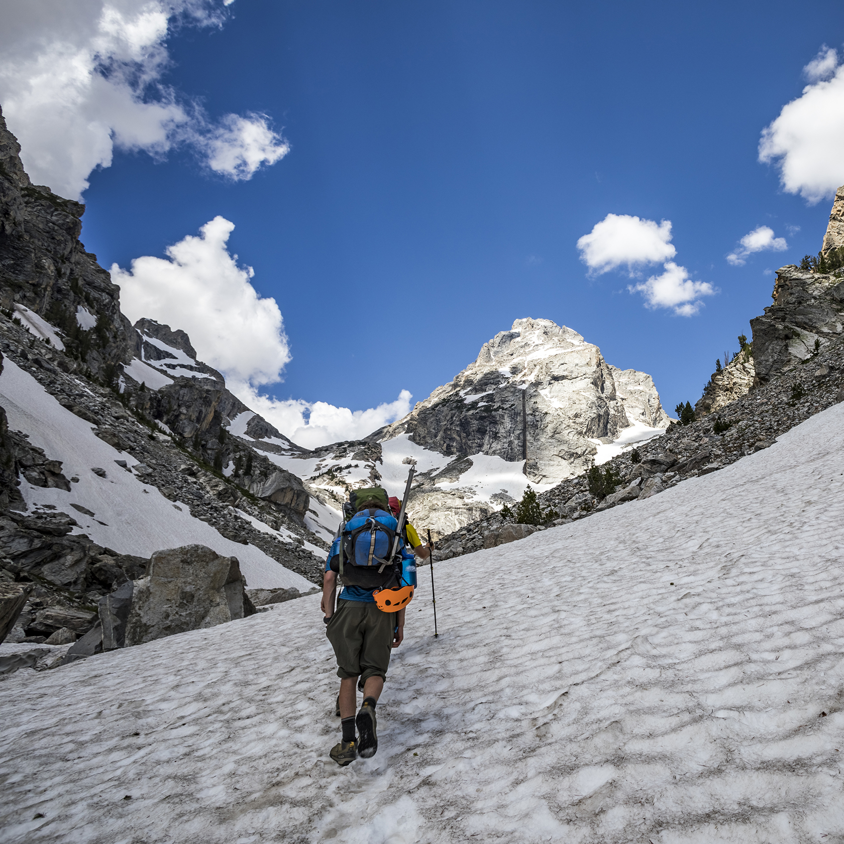 Travelers mountaineering on the Grand Teton trip