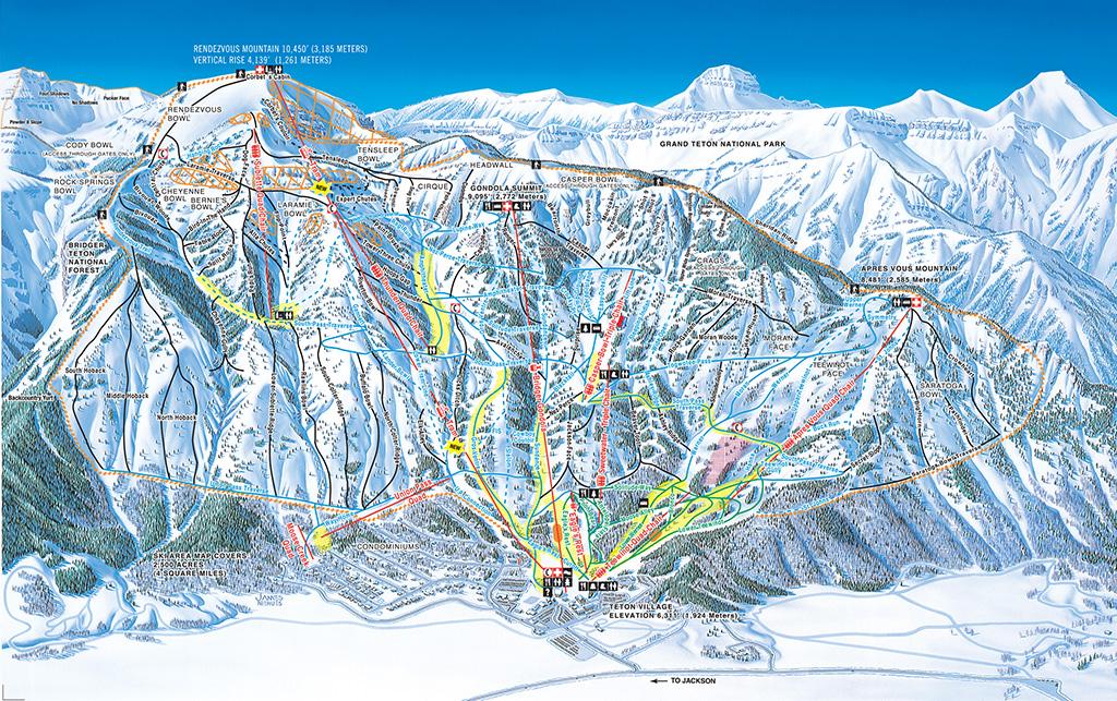 Wyoming ski map