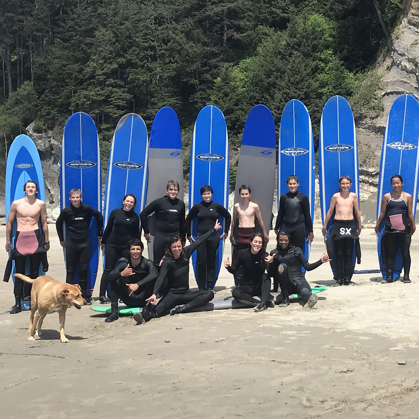 Surfing group on the Pacific Northwest Explorer trip