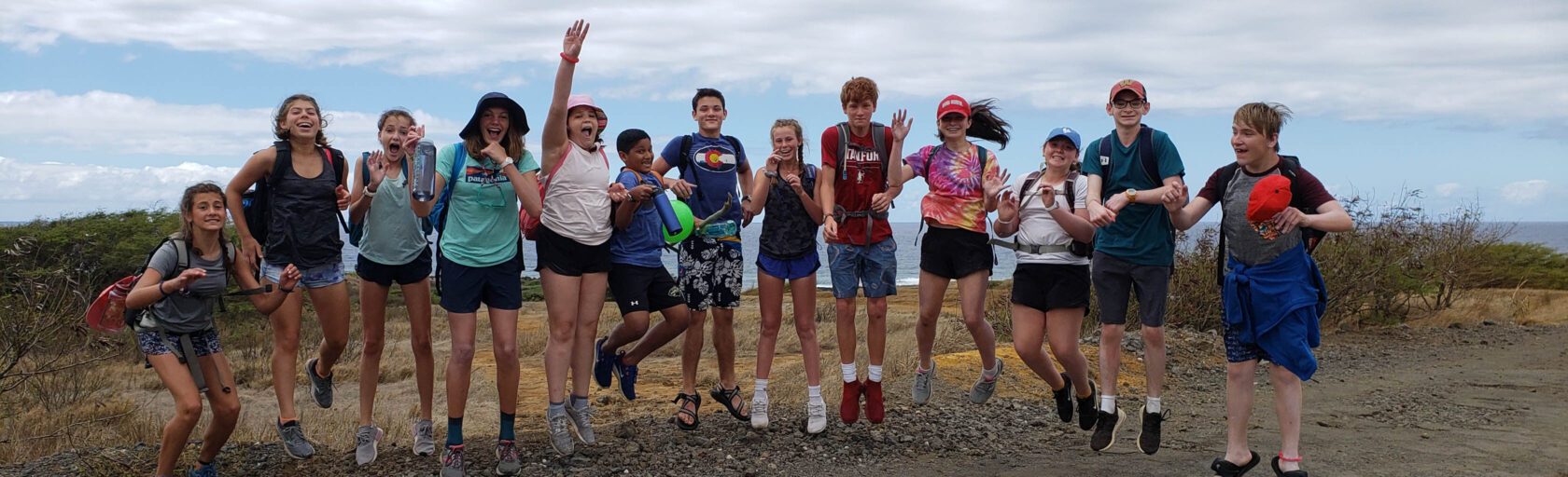 Hawaii Explorer group photo with everyone jumping