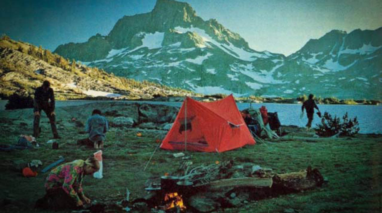 Old photo of a campsite
