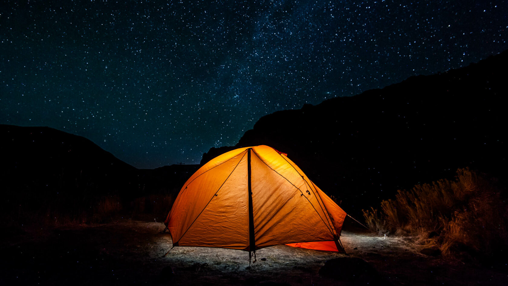 Tent under a stary sky