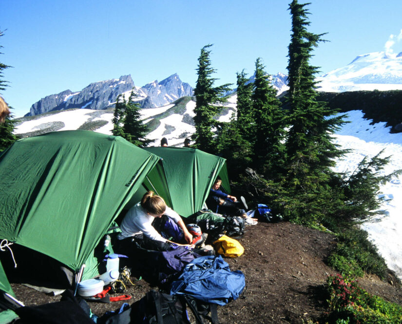 Travelers in tents