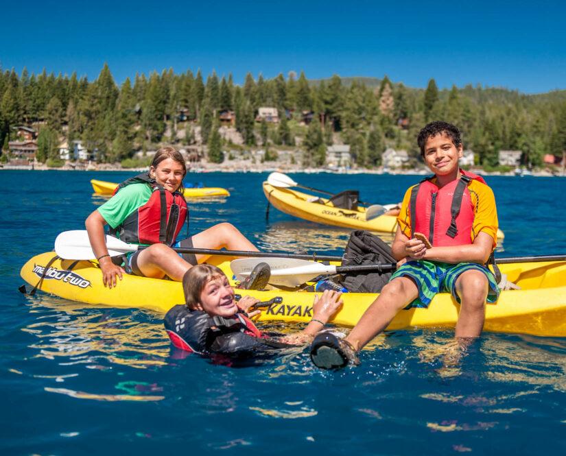 Travelers kayaking