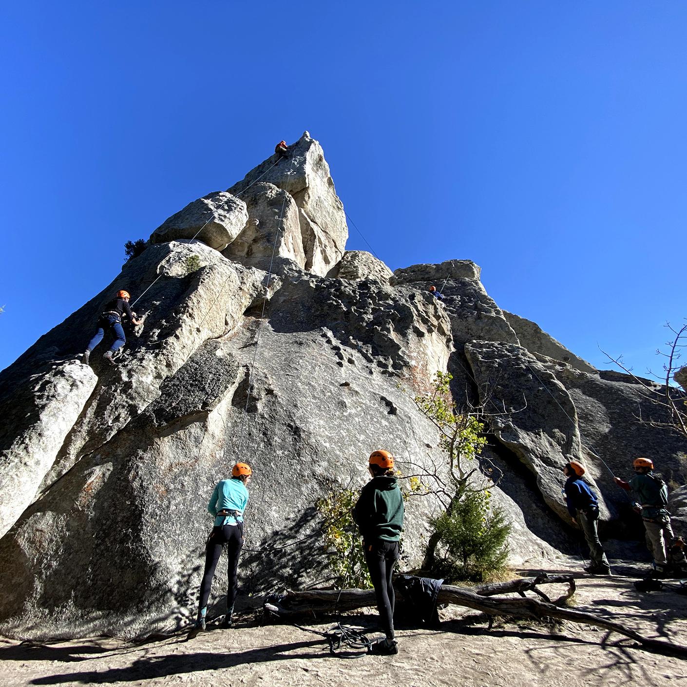 Students rock climbing