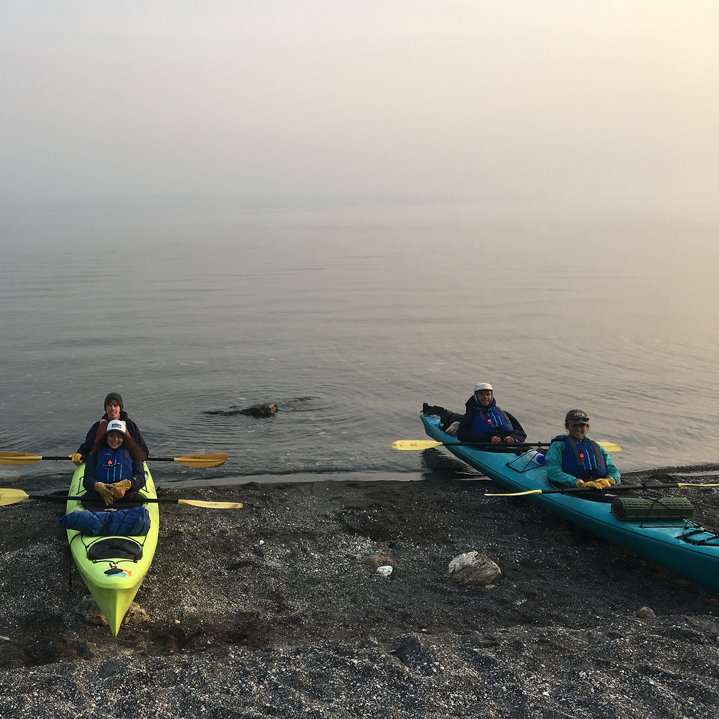 Students kayaking in Yellowstone National Park