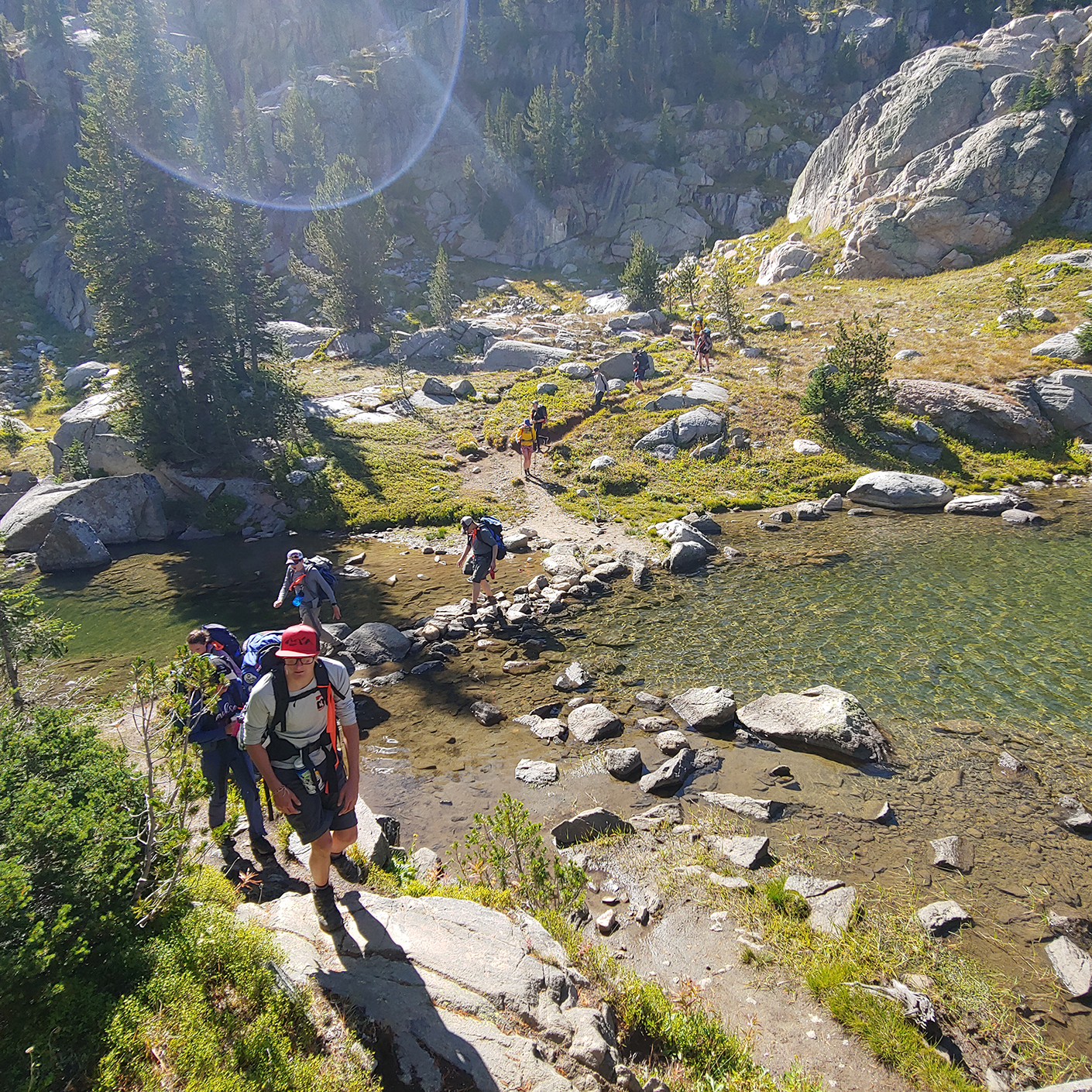 Student backpacking in the Teton Wilderness