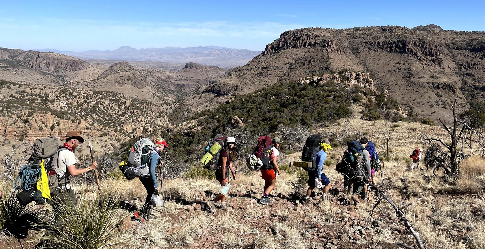 Students backpacking in Utah