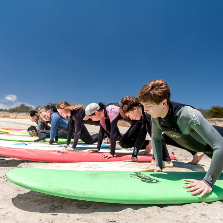 Student practicing surfing